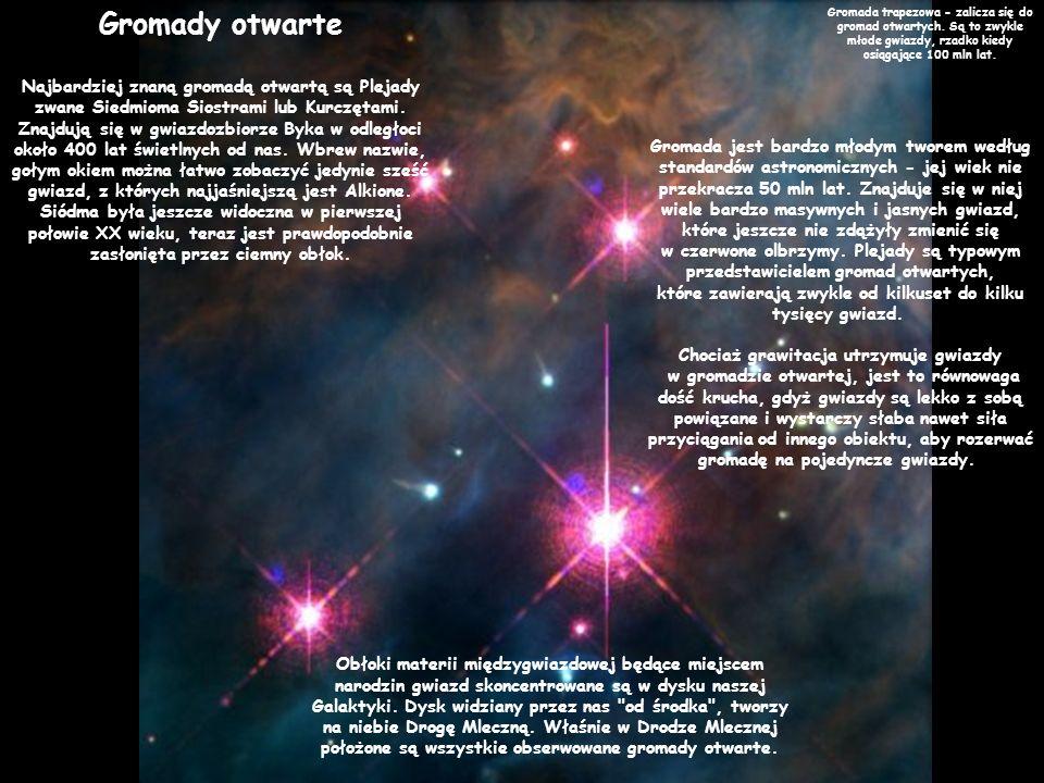 Gromady otwarte Najbardziej znaną gromadą otwartą są Plejady zwane Siedmioma Siostrami lub Kurczętami. Znajdują się w gwiazdozbiorze Byka w odległoci