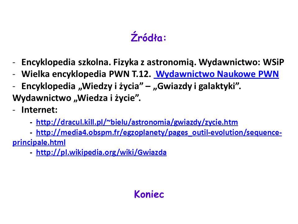 Koniec Źródła: -Encyklopedia szkolna. Fizyka z astronomią. Wydawnictwo: WSiP -Wielka encyklopedia PWN T.12. Wydawnictwo Naukowe PWN Wydawnictwo Naukow