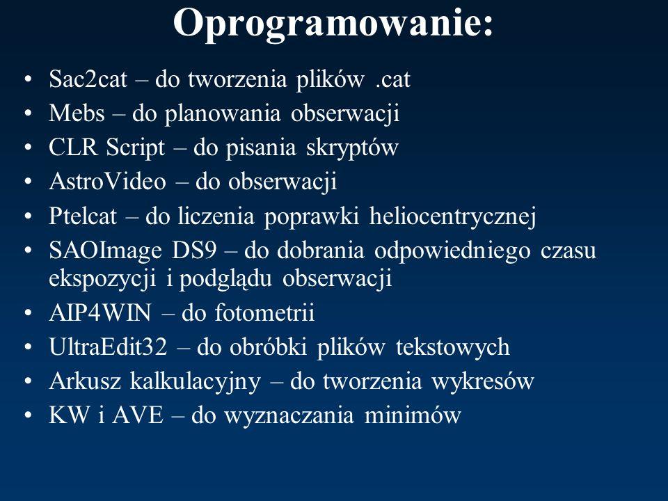 Oprogramowanie: Sac2cat – do tworzenia plików.cat Mebs – do planowania obserwacji CLR Script – do pisania skryptów AstroVideo – do obserwacji Ptelcat