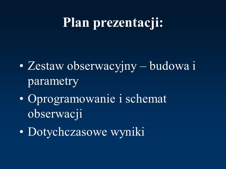 Plan prezentacji: Zestaw obserwacyjny – budowa i parametry Oprogramowanie i schemat obserwacji Dotychczasowe wyniki