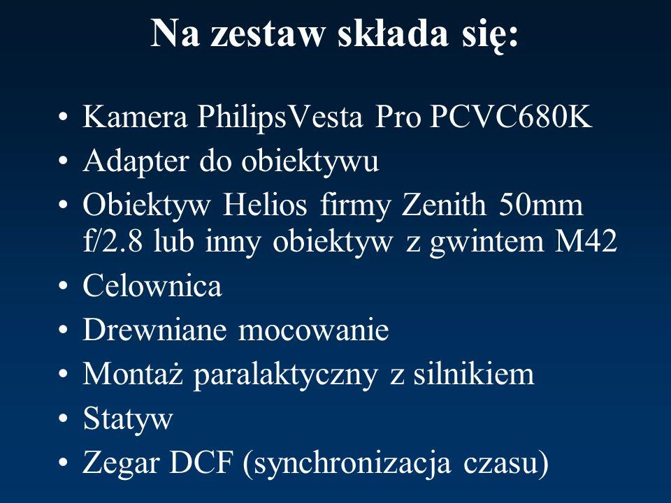 Na zestaw składa się: Kamera PhilipsVesta Pro PCVC680K Adapter do obiektywu Obiektyw Helios firmy Zenith 50mm f/2.8 lub inny obiektyw z gwintem M42 Ce