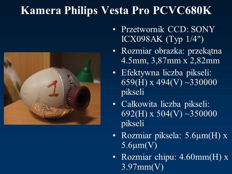 Kamera Philips Vesta Pro PCVC680K Przetwornik CCD: SONY ICX098AK (Typ 1/4