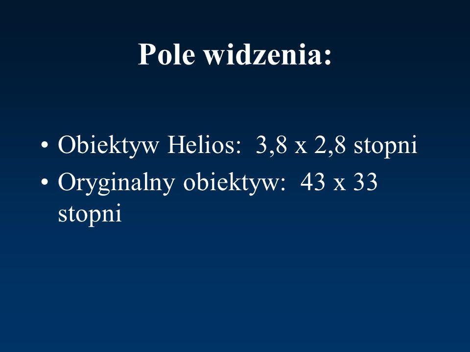 Pole widzenia: Obiektyw Helios: 3,8 x 2,8 stopni Oryginalny obiektyw: 43 x 33 stopni
