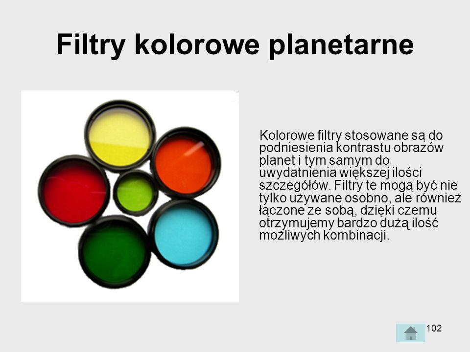 102 Filtry kolorowe planetarne Kolorowe filtry stosowane są do podniesienia kontrastu obrazów planet i tym samym do uwydatnienia większej ilości szczegółów.