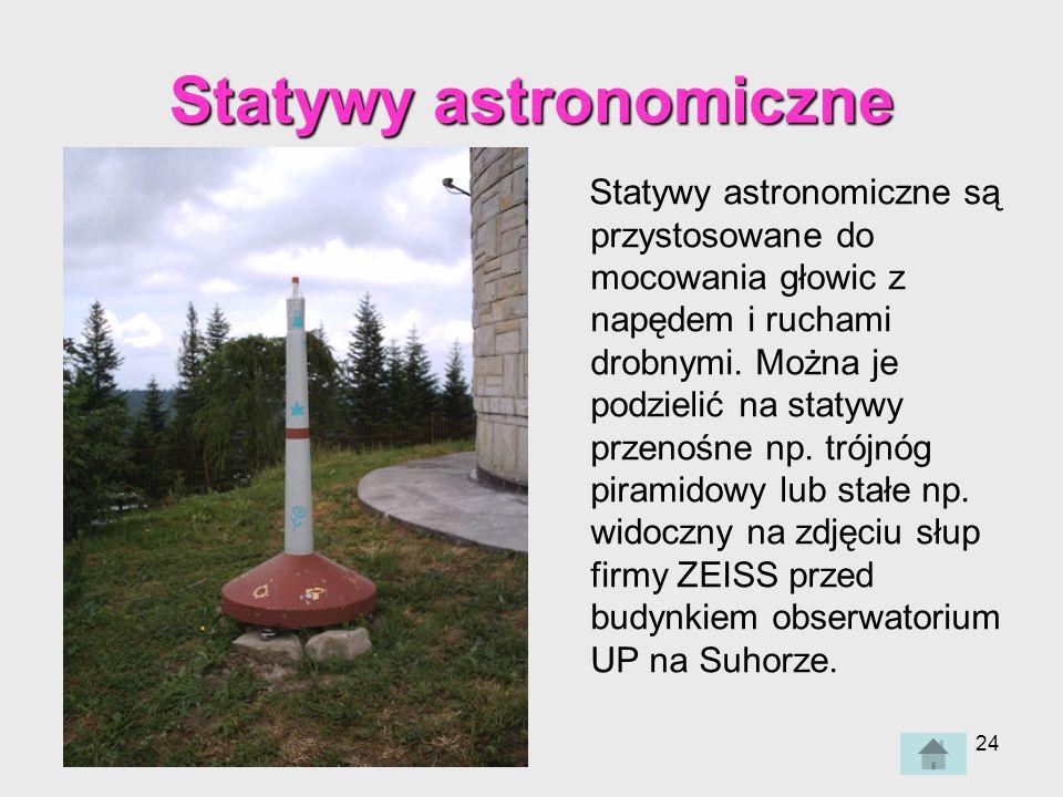 24 Statywy astronomiczne są przystosowane do mocowania głowic z napędem i ruchami drobnymi.