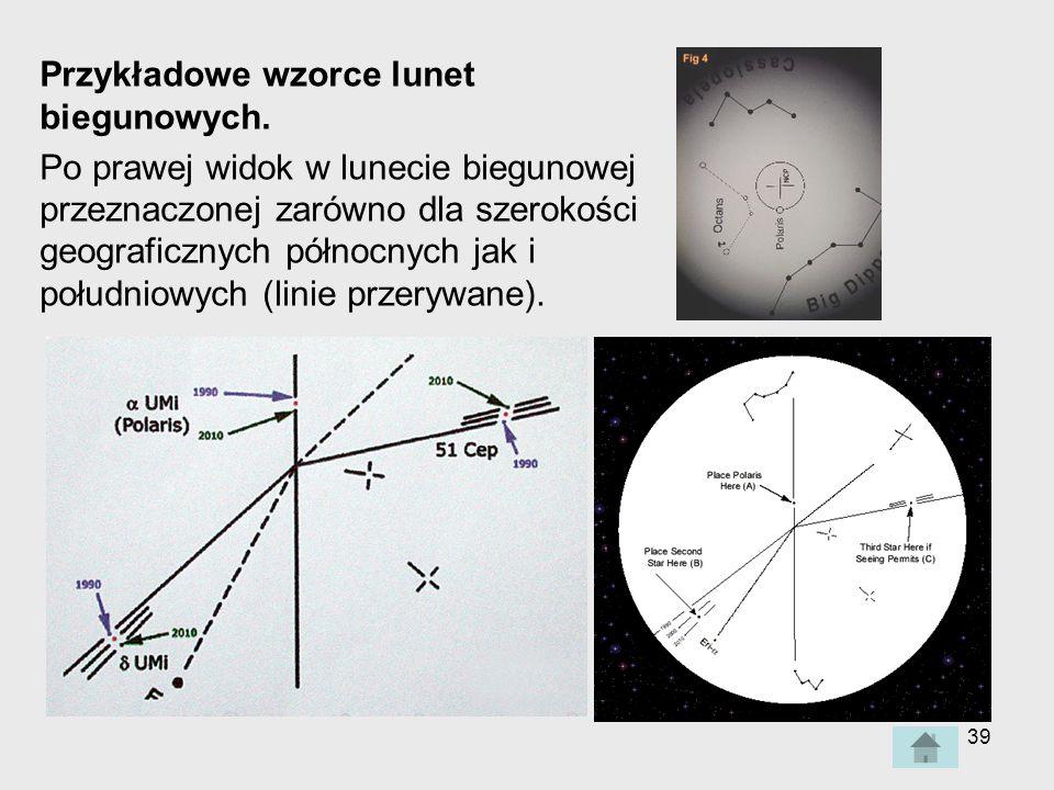 39 Przykładowe wzorce lunet biegunowych.