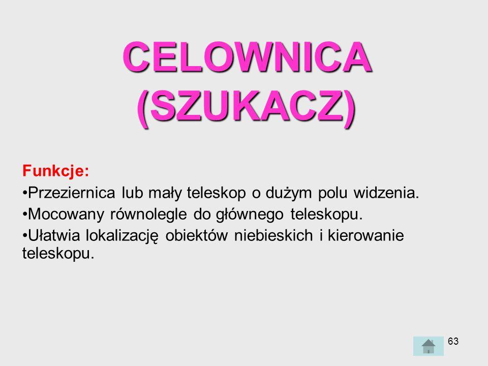 63 CELOWNICA (SZUKACZ) Funkcje: Przeziernica lub mały teleskop o dużym polu widzenia.