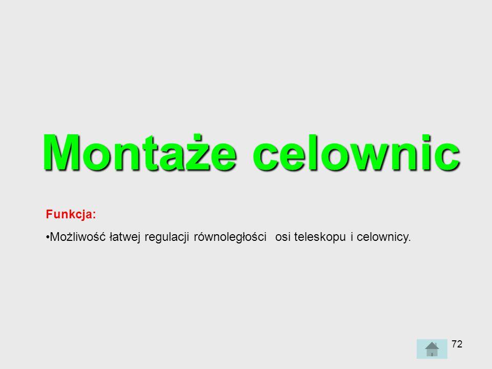 72 Montaże celownic Funkcja: Możliwość łatwej regulacji równoległości osi teleskopu i celownicy.