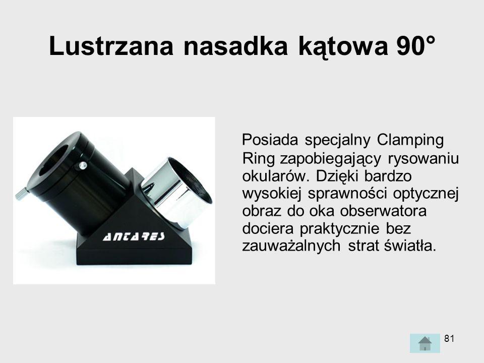 81 Lustrzana nasadka kątowa 90° Posiada specjalny Clamping Ring zapobiegający rysowaniu okularów.