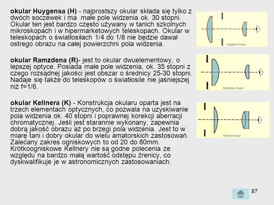 87 okular Huygensa (H) - najprostszy okular składa się tylko z dwóch soczewek i ma małe pole widzenia ok.