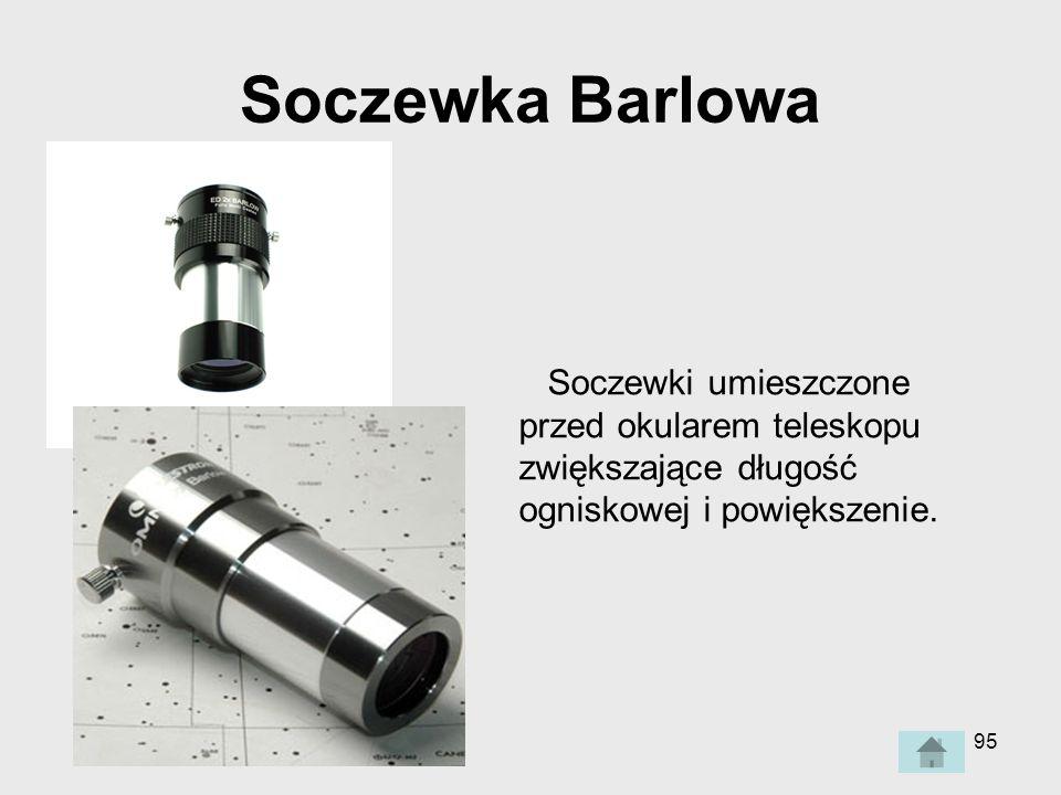 95 Soczewka Barlowa Soczewki umieszczone przed okularem teleskopu zwiększające długość ogniskowej i powiększenie.