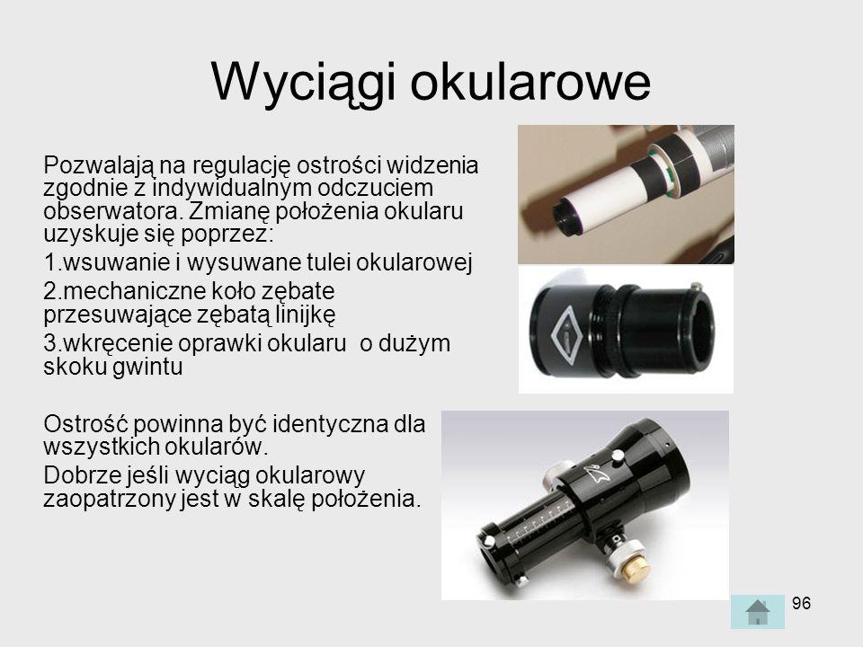 96 Wyciągi okularowe Pozwalają na regulację ostrości widzenia zgodnie z indywidualnym odczuciem obserwatora.