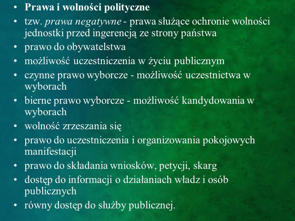 Prawa i wolności polityczne tzw. prawa negatywne - prawa służące ochronie wolności jednostki przed ingerencją ze strony państwa prawo do obywatelstwa
