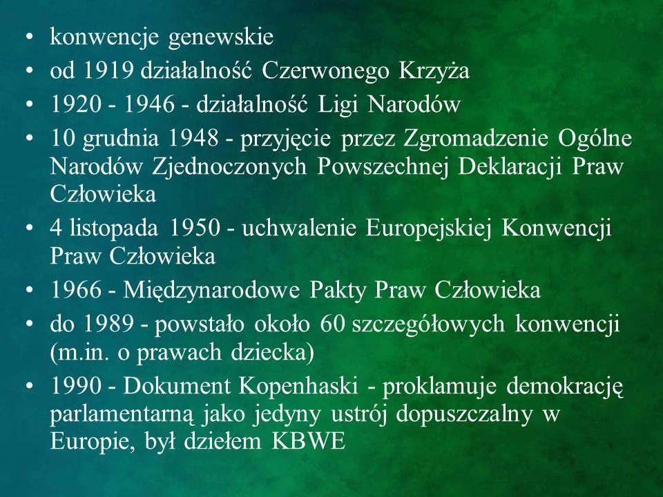 konwencje genewskie od 1919 działalność Czerwonego Krzyża 1920 - 1946 - działalność Ligi Narodów 10 grudnia 1948 - przyjęcie przez Zgromadzenie Ogólne