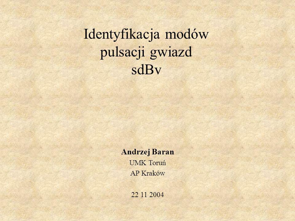 Identyfikacja modów pulsacji gwiazd sdBv Andrzej Baran UMK Toruń AP Kraków 22 11 2004