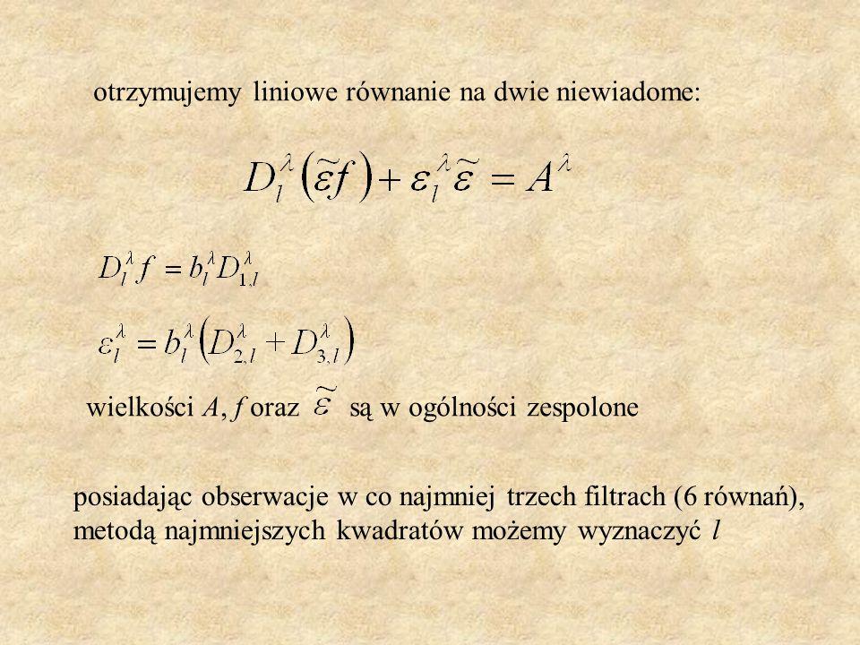 otrzymujemy liniowe równanie na dwie niewiadome: wielkości A, f oraz są w ogólności zespolone posiadając obserwacje w co najmniej trzech filtrach (6 r