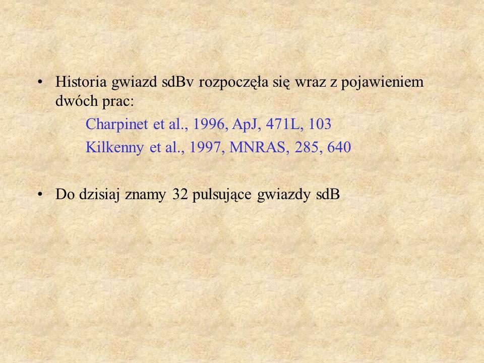 Historia gwiazd sdBv rozpoczęła się wraz z pojawieniem dwóch prac: Charpinet et al., 1996, ApJ, 471L, 103 Kilkenny et al., 1997, MNRAS, 285, 640 Do dz