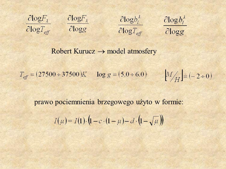 Robert Kurucz model atmosfery prawo pociemnienia brzegowego użyto w formie: