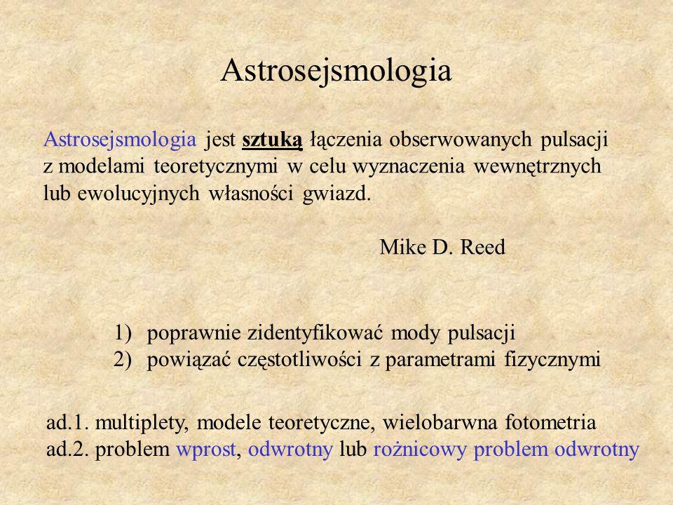 ad.1. multiplety, modele teoretyczne, wielobarwna fotometria ad.2. problem wprost, odwrotny lub rożnicowy problem odwrotny Astrosejsmologia Astrosejsm