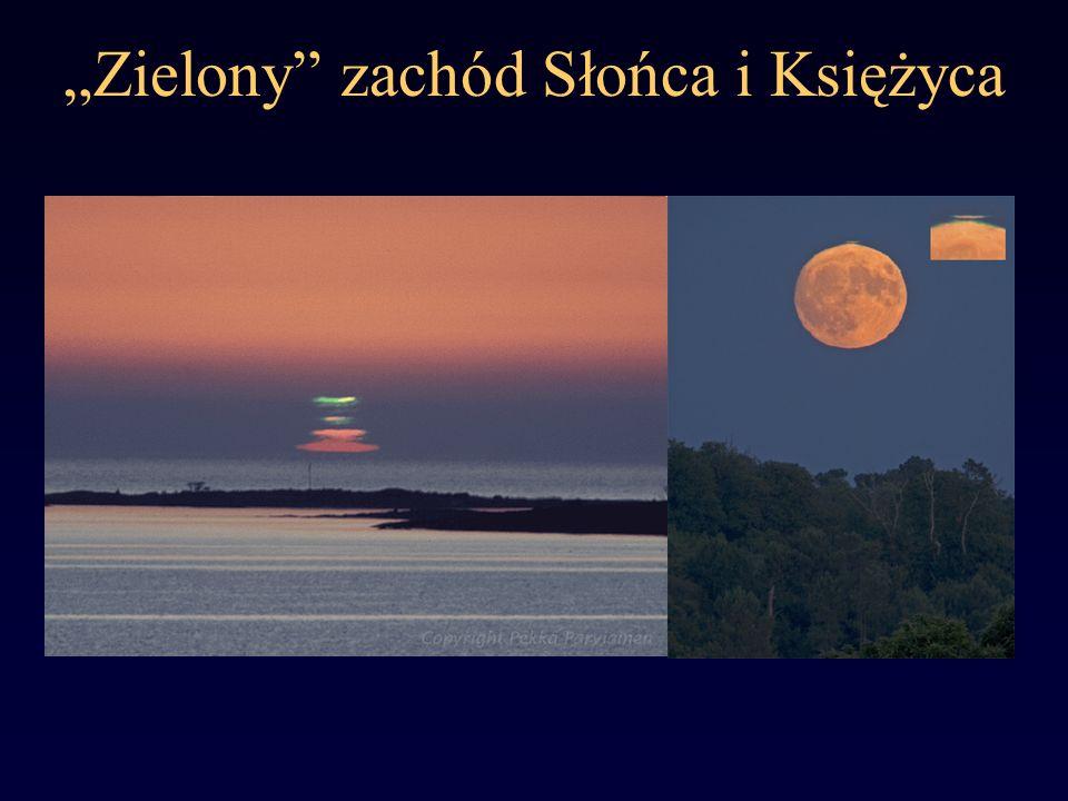 Zielony zachód Słońca i Księżyca