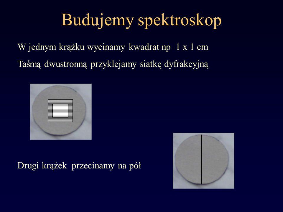 Budujemy spektroskop W jednym krążku wycinamy kwadrat np 1 x 1 cm Taśmą dwustronną przyklejamy siatkę dyfrakcyjną Drugi krążek przecinamy na pół