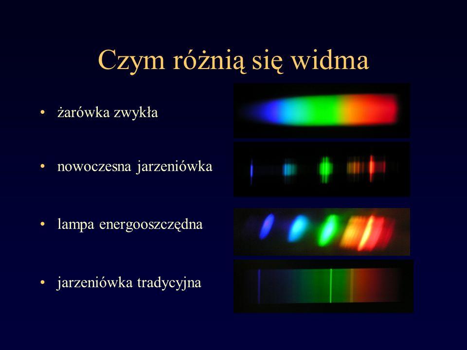 Czym różnią się widma żarówka zwykła Widmo ciągłe powstaje gdy źródłem światła jest coś bardzo gorącego.