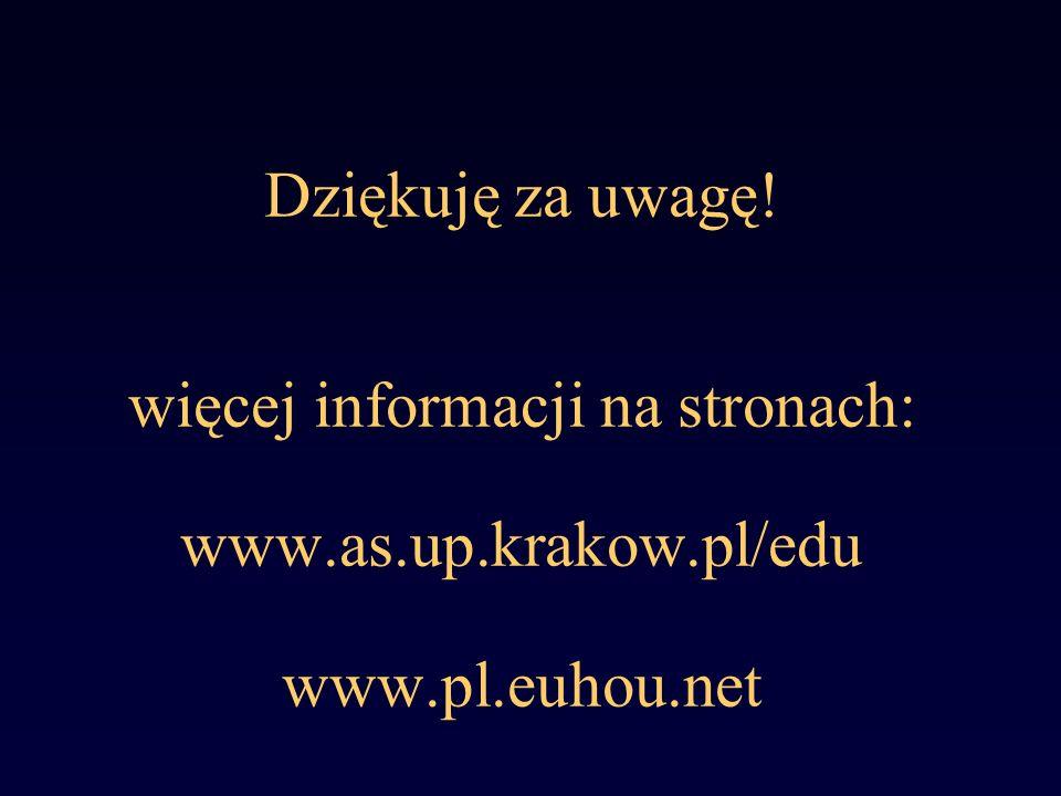 Dziękuję za uwagę! więcej informacji na stronach: www.as.up.krakow.pl/edu www.pl.euhou.net