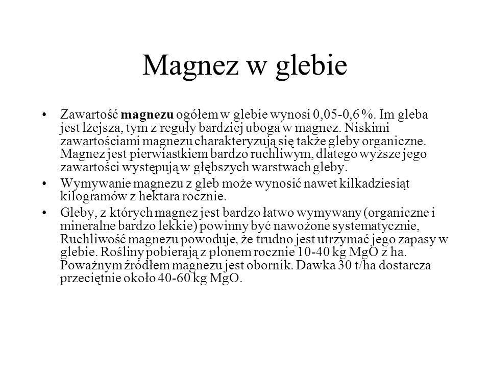 Magnez w glebie Zawartość magnezu ogółem w glebie wynosi 0,05-0,6 %. Im gleba jest lżejsza, tym z reguły bardziej uboga w magnez. Niskimi zawartościam