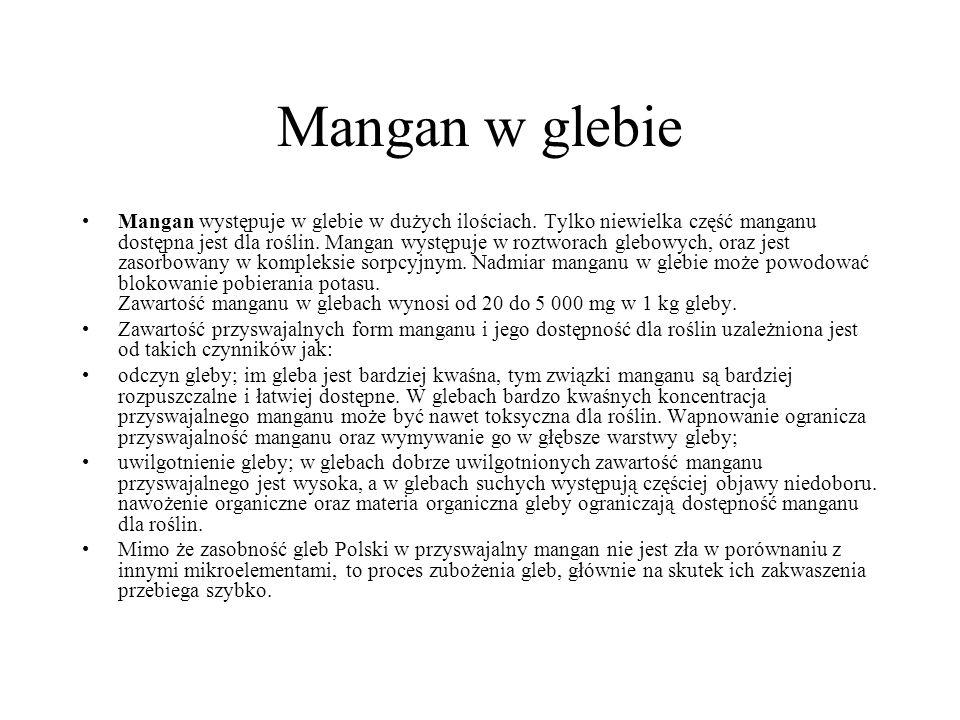 Mangan w glebie Mangan występuje w glebie w dużych ilościach. Tylko niewielka część manganu dostępna jest dla roślin. Mangan występuje w roztworach gl