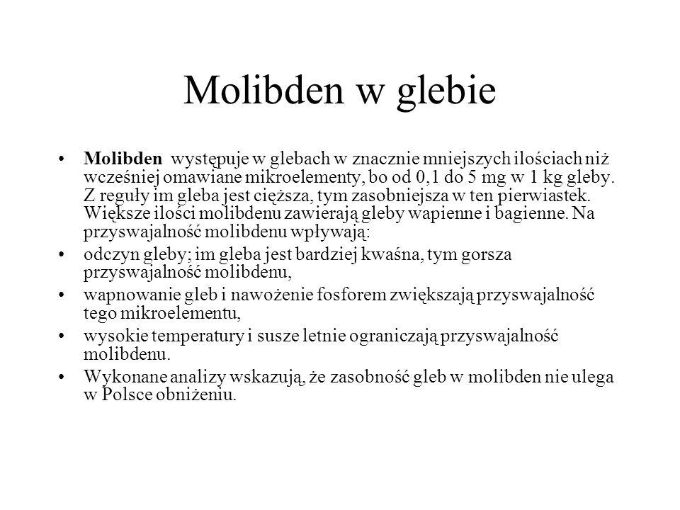 Molibden w glebie Molibden występuje w glebach w znacznie mniejszych ilościach niż wcześniej omawiane mikroelementy, bo od 0,1 do 5 mg w 1 kg gleby. Z