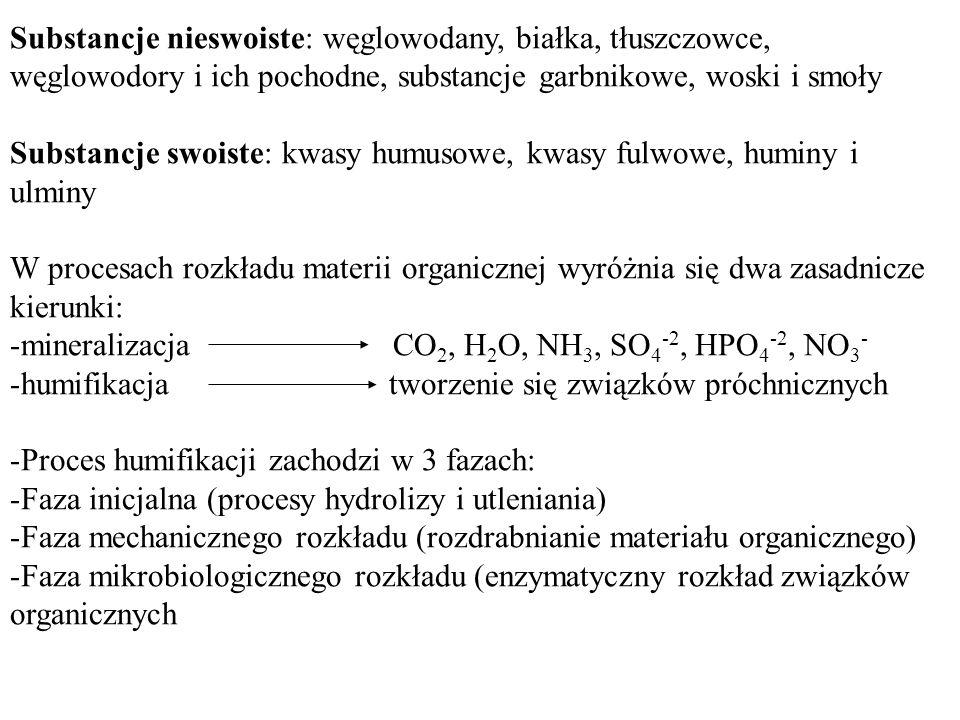 Substancje nieswoiste: węglowodany, białka, tłuszczowce, węglowodory i ich pochodne, substancje garbnikowe, woski i smoły Substancje swoiste: kwasy hu