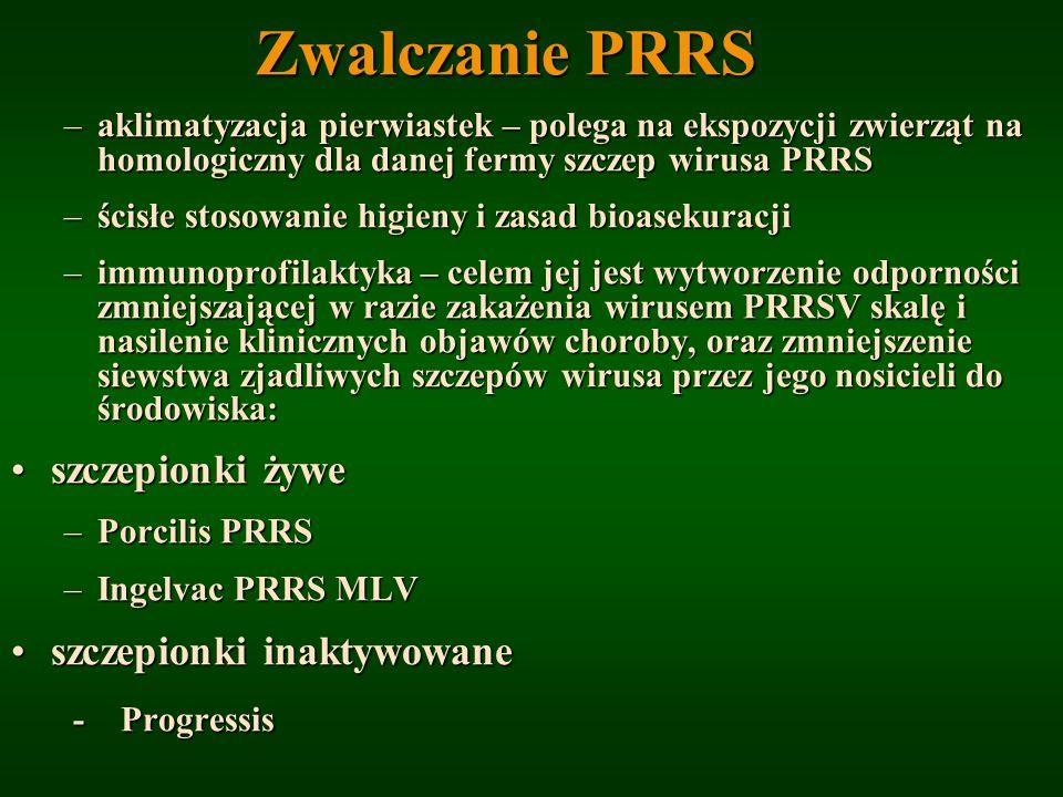 Zwalczanie PRRS –aklimatyzacja pierwiastek – polega na ekspozycji zwierząt na homologiczny dla danej fermy szczep wirusa PRRS –ścisłe stosowanie higie