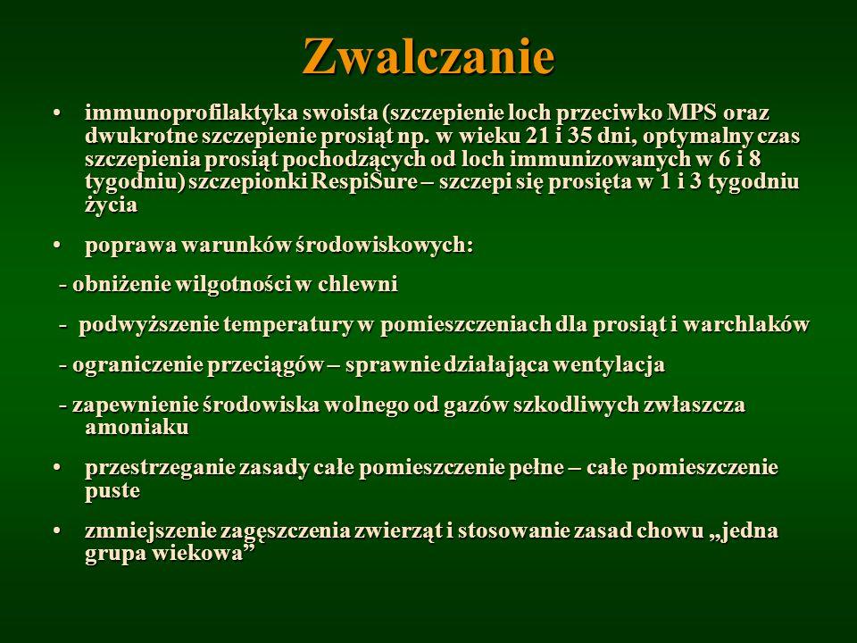 Zwalczanie immunoprofilaktyka swoista (szczepienie loch przeciwko MPS oraz dwukrotne szczepienie prosiąt np. w wieku 21 i 35 dni, optymalny czas szcze