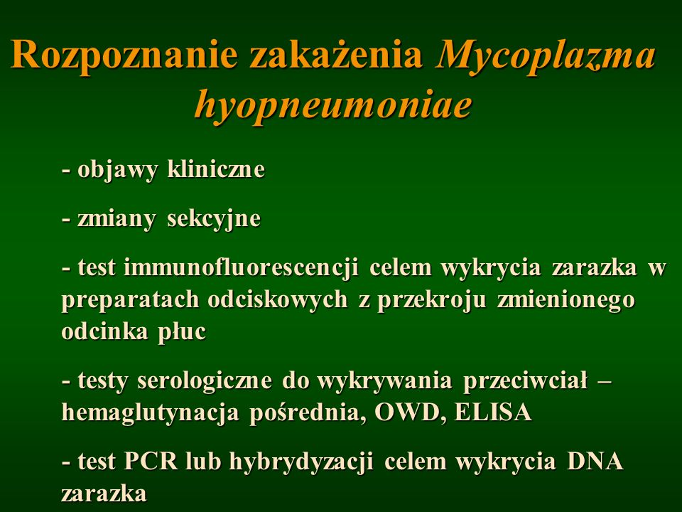 Rozpoznanie zakażenia Mycoplazma hyopneumoniae - objawy kliniczne - zmiany sekcyjne - zmiany sekcyjne - test immunofluorescencji celem wykrycia zarazk