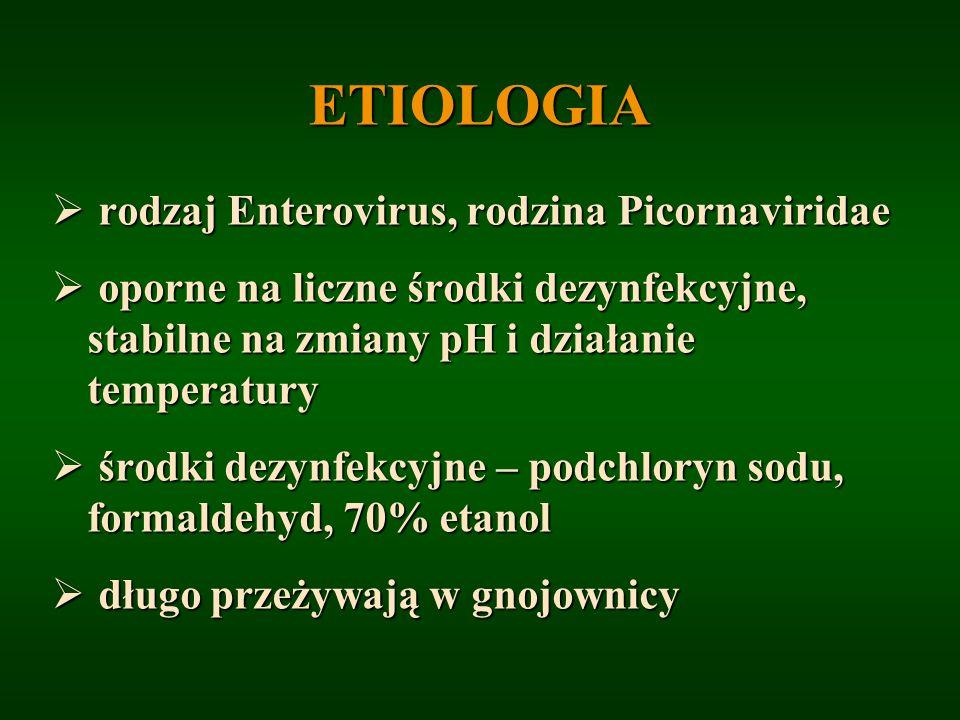 ETIOLOGIA rodzaj Enterovirus, rodzina Picornaviridae rodzaj Enterovirus, rodzina Picornaviridae oporne na liczne środki dezynfekcyjne, stabilne na zmi