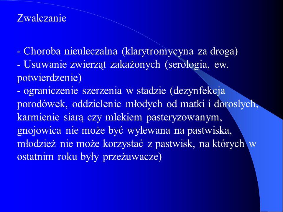 Zwalczanie - Choroba nieuleczalna (klarytromycyna za droga) - Usuwanie zwierząt zakażonych (serologia, ew. potwierdzenie) - ograniczenie szerzenia w s