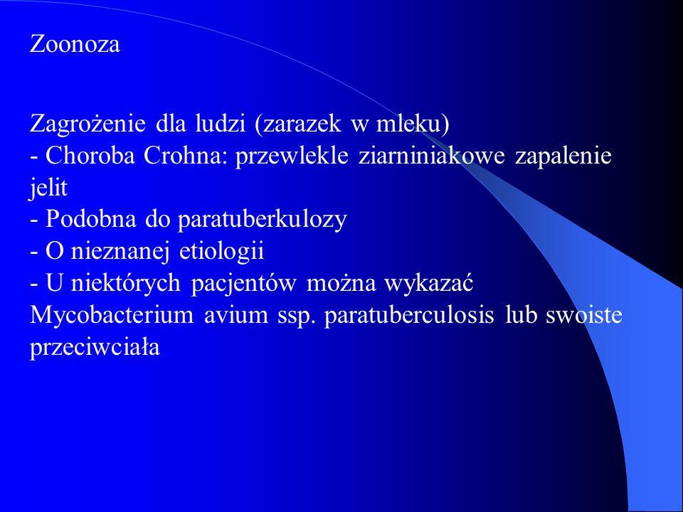 Zoonoza Zagrożenie dla ludzi (zarazek w mleku) - Choroba Crohna: przewlekle ziarniniakowe zapalenie jelit - Podobna do paratuberkulozy - O nieznanej e