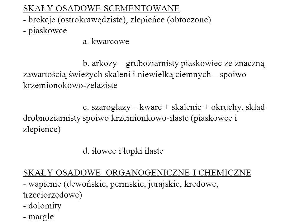 SKAŁY OSADOWE SCEMENTOWANE - brekcje (ostrokrawędziste), zlepieńce (obtoczone) - piaskowce a. kwarcowe b. arkozy – gruboziarnisty piaskowiec ze znaczn