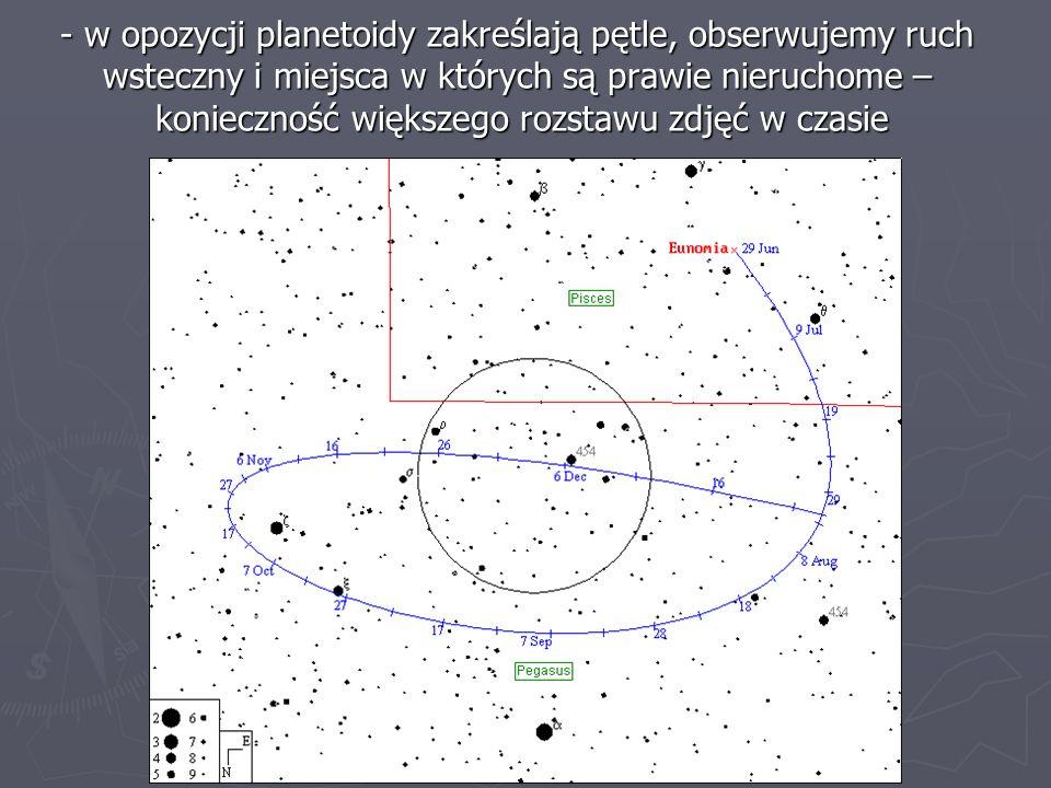 - w opozycji planetoidy zakreślają pętle, obserwujemy ruch wsteczny i miejsca w których są prawie nieruchome – konieczność większego rozstawu zdjęć w
