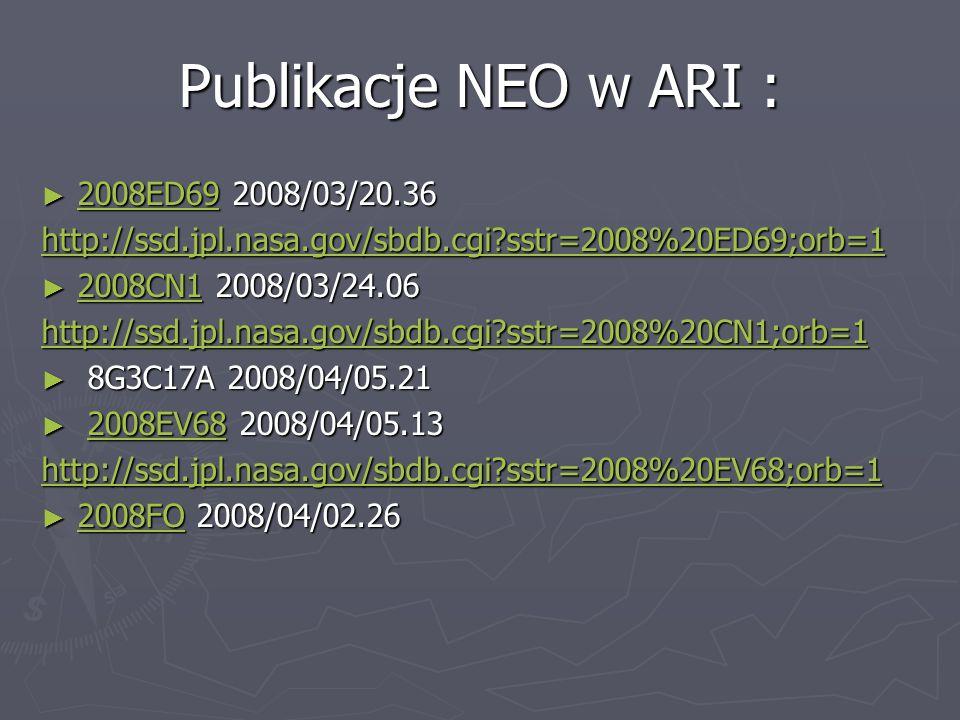 Publikacje NEO w ARI : 2008ED69 2008/03/20.36 2008ED69 2008/03/20.36 2008ED69 http://ssd.jpl.nasa.gov/sbdb.cgi?sstr=2008%20ED69;orb=1 2008CN1 2008/03/