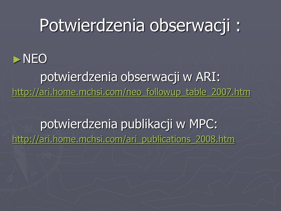 Potwierdzenia obserwacji : NEO NEO potwierdzenia obserwacji w ARI: potwierdzenia obserwacji w ARI: http://ari.home.mchsi.com/neo_followup_table_2007.h