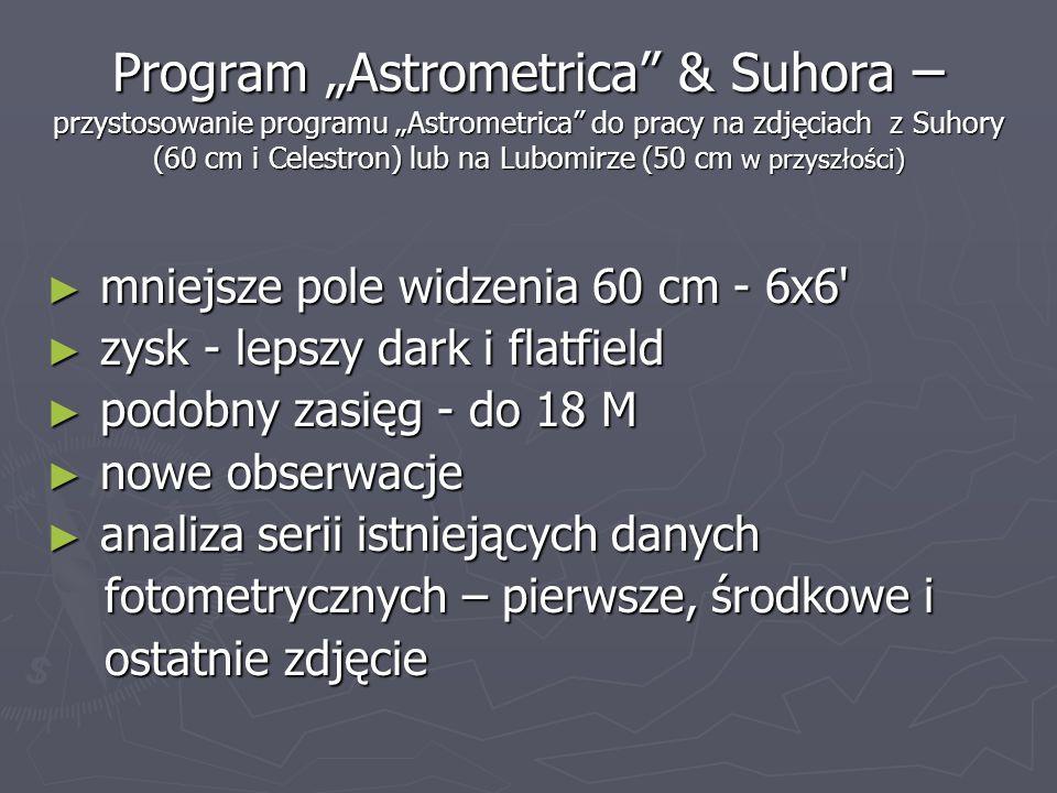 Program Astrometrica & Suhora – przystosowanie programu Astrometrica do pracy na zdjęciach z Suhory (60 cm i Celestron) lub na Lubomirze (50 cm w przy