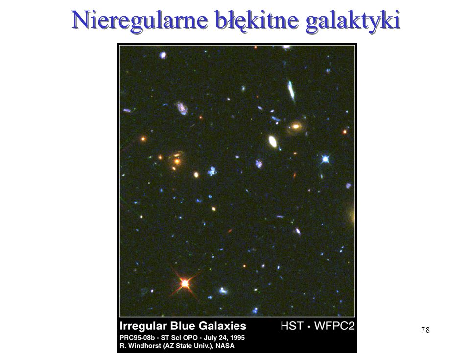 78 Nieregularne błękitne galaktyki