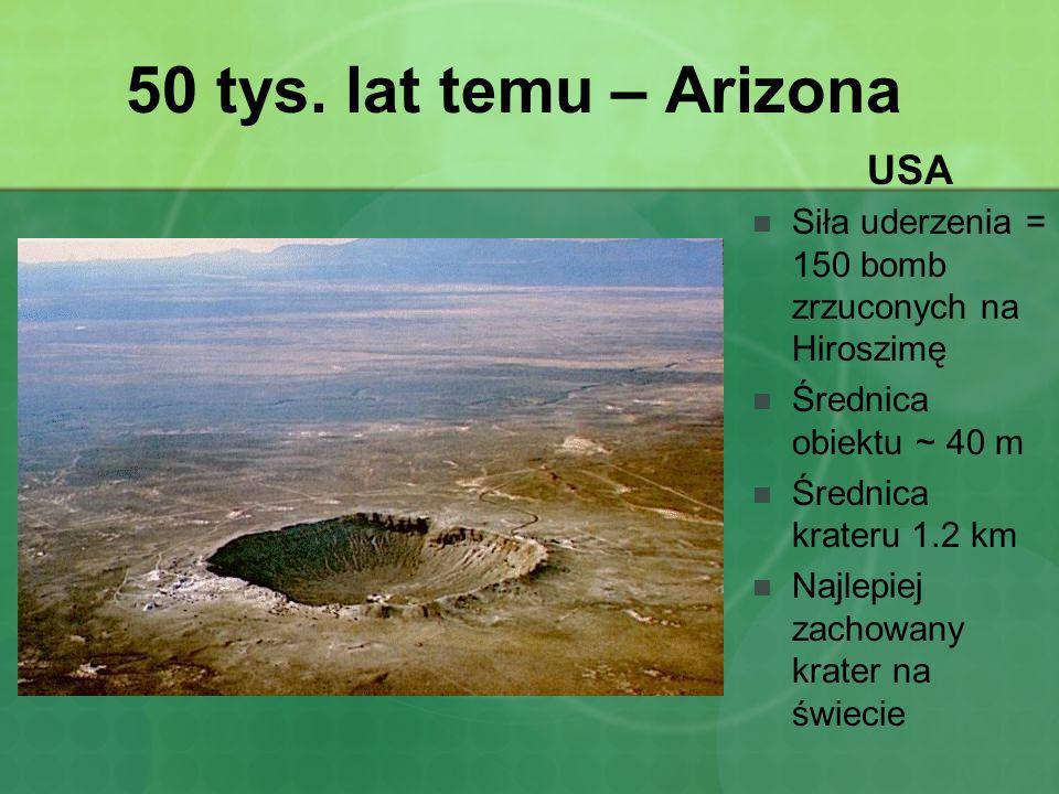 50 tys. lat temu – Arizona USA Siła uderzenia = 150 bomb zrzuconych na Hiroszimę Średnica obiektu ~ 40 m Średnica krateru 1.2 km Najlepiej zachowany k
