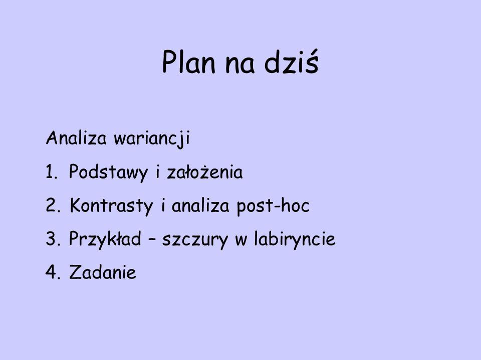 Plan na dziś Analiza wariancji 1.Podstawy i założenia 2.Kontrasty i analiza post-hoc 3.Przykład – szczury w labiryncie 4.Zadanie
