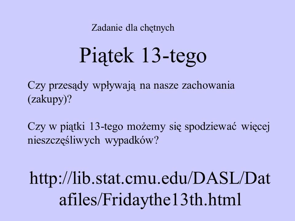 http://lib.stat.cmu.edu/DASL/Dat afiles/Fridaythe13th.html Zadanie dla chętnych Piątek 13-tego Czy przesądy wpływają na nasze zachowania (zakupy)? Czy