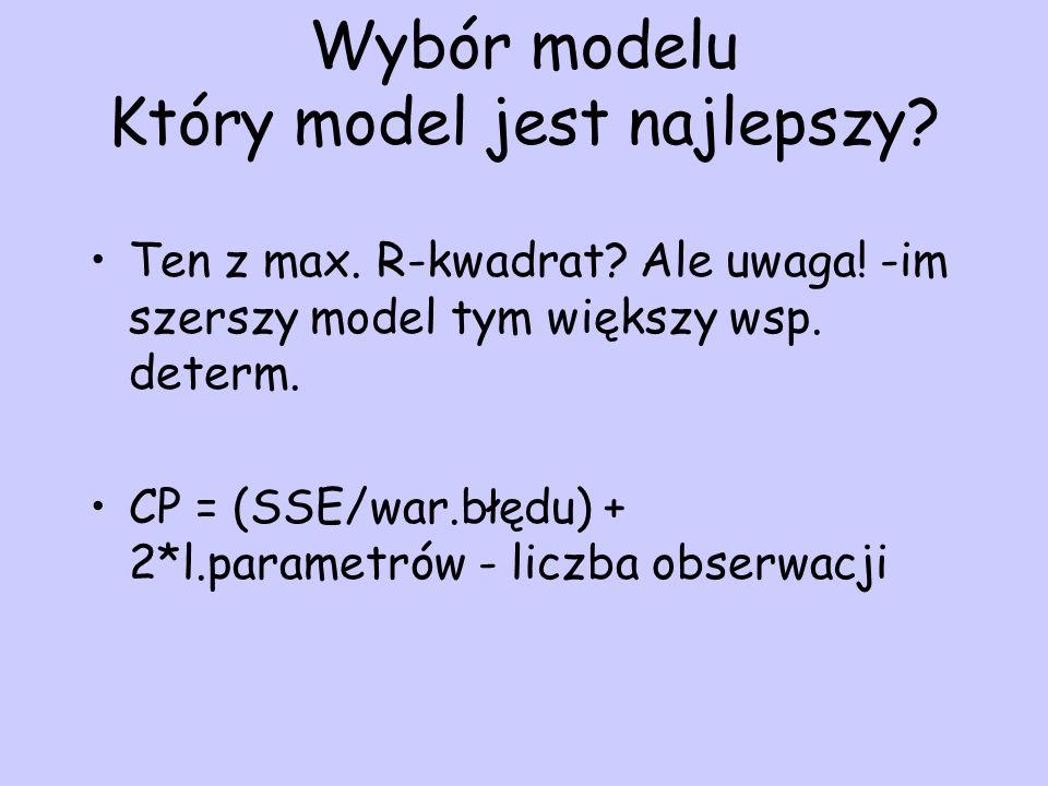 Wybór modelu Który model jest najlepszy? Ten z max. R-kwadrat? Ale uwaga! -im szerszy model tym większy wsp. determ. CP = (SSE/war.błędu) + 2*l.parame