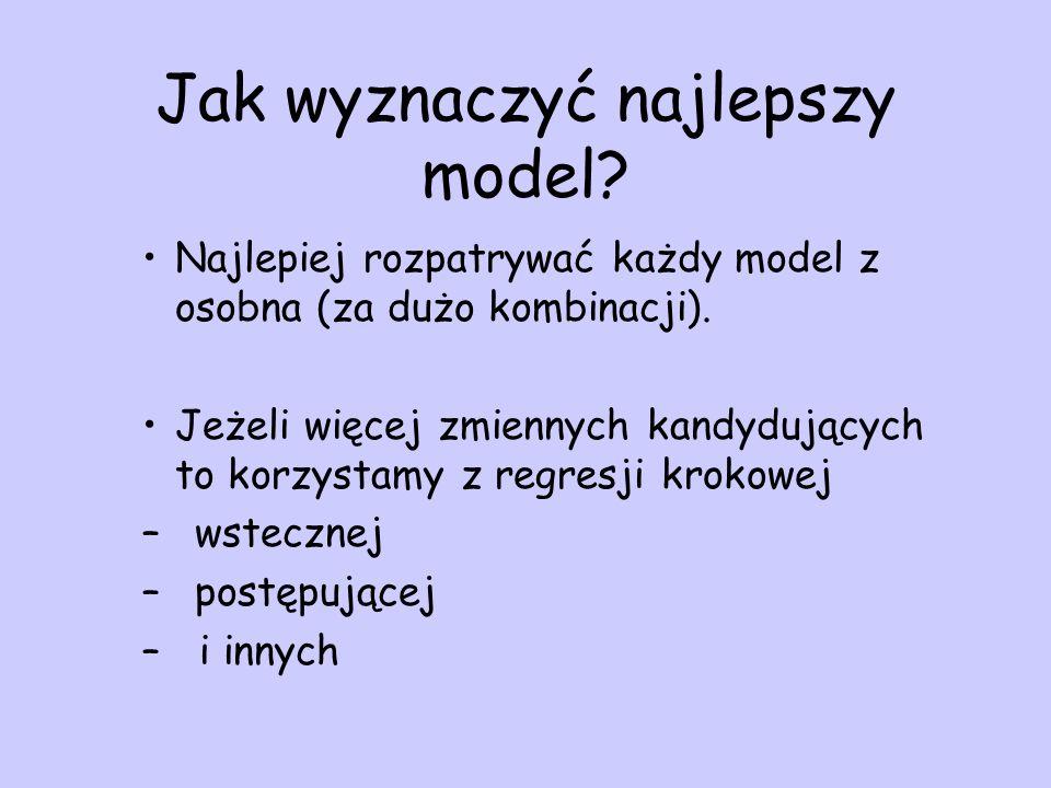 Jak wyznaczyć najlepszy model? Najlepiej rozpatrywać każdy model z osobna (za dużo kombinacji). Jeżeli więcej zmiennych kandydujących to korzystamy z