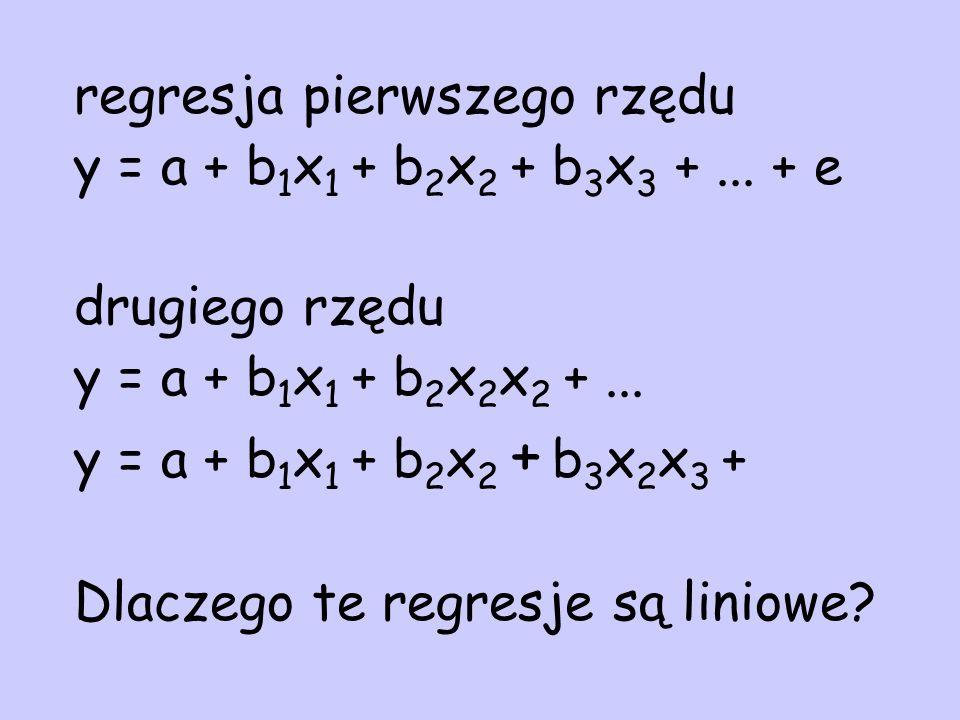 regresja pierwszego rzędu y = a + b 1 x 1 + b 2 x 2 + b 3 x 3 +... + e drugiego rzędu y = a + b 1 x 1 + b 2 x 2 x 2 +... y = a + b 1 x 1 + b 2 x 2 + b