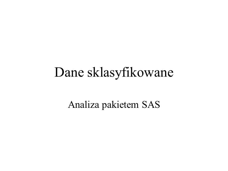 Dane sklasyfikowane Analiza pakietem SAS